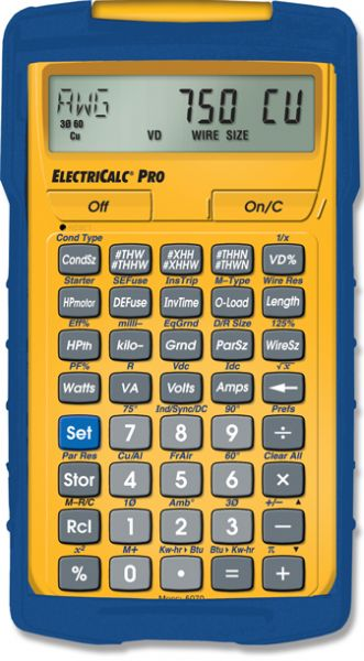 Calculated industries 5070 electricalc pro electrical code work directly in and convert between amps watts volts volt amps kva kw pf and eff and dc resistance calculate wire sizes per nec keyboard keysfo Gallery
