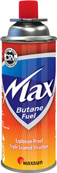 Max Burton 1214 Butane Fuel Cartridge, 8 oz. net weight content, Has a notched collar valve and countersink release vent with triple seam structure that allows gas to release safely in the event of overpressure, Disposeable (not refillable), UL listed, Weight 0.92 lbs, UPC 880190105002 (MAXBURTON1214 MAXBURTON-1214 MAXBURTON 1214)