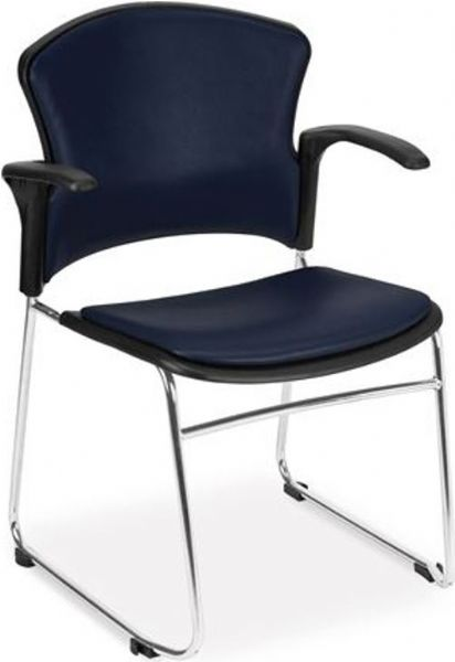 OFM 310-VAM-A-605 Multi-Use Arms Stack Chair with Vinyl Seat and Back, Chrome-plated 16-gauge tubular steel frame, 18.75