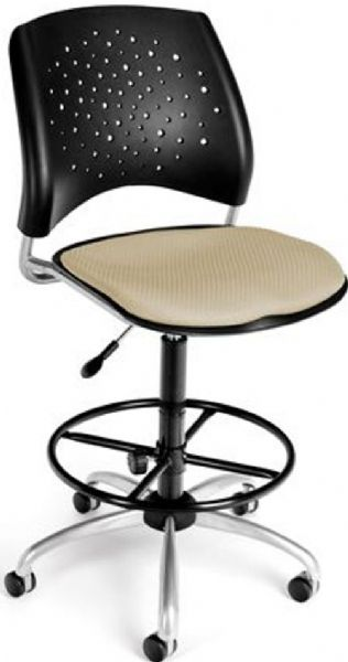 OFM 326-DK-2209 Stars Series Armless Fabric Swivel Chair with Drafting Kit, 5 Star 25