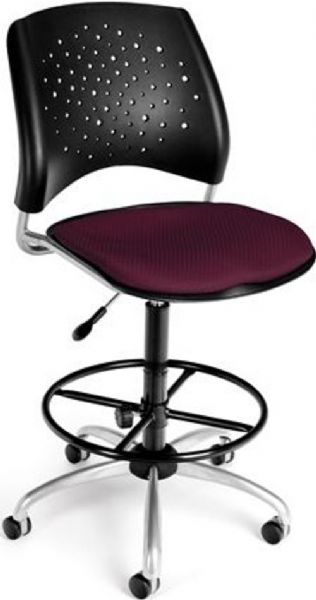 OFM 326-DK-2211 Stars Series Armless Fabric Swivel Chair with Drafting Kit, 5 Star 25