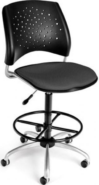 OFM 326-DK-2213 Stars Series Armless Fabric Swivel Chair with Drafting Kit, 5 Star 25