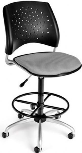 OFM 326-DK-2218 Stars Series Armless Fabric Swivel Chair with Drafting Kit, 5 Star 25