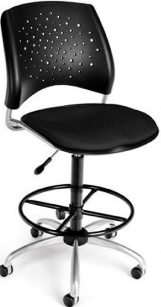 OFM 326-DK-2224 Stars Series Armless Fabric Swivel Chair with Drafting Kit, 5 Star 25