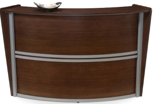 OFM 55290-WLNT Marque Reception Desk with Solid Wood Front - Single Station, 19.75