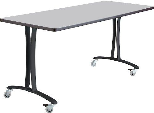 Safco 2094GRBL Rumba T-Leg Table, Cast aluminum T-Leg base, Rectangle, 60 x 24