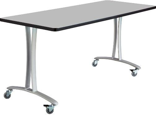 Safco 2094GRSL Rumba T-Leg Table, Cast aluminum T-Leg base, Rectangle, 60 x 24