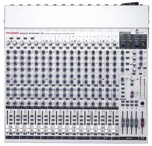 Phonic Sonic Station 16 Non-powered Mixer, 32/40-bit digital multi-effect processor with 16 programs plus one main parameter control, tap control and foot switch jack, 16 Mic/Line channels with inserts, 3-band EQ with swept mid-range, 75 Hz low-cut filter on each channel (SonicStation16 SonicStation 16)