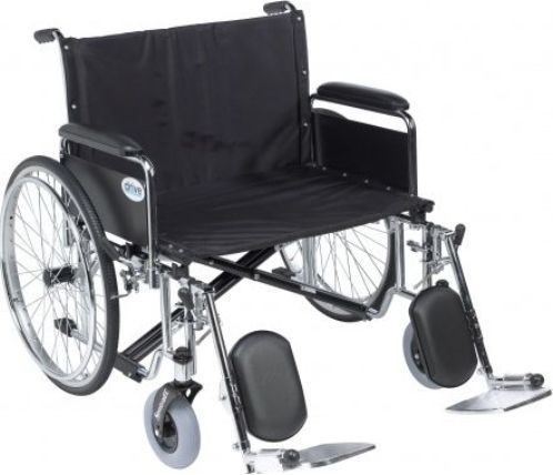 Drive Medical STD26ECDFA-ELR Sentra EC Heavy Duty Extra Wide Wheelchair, Detachable Full Arms, Elevating Leg Rests, 26