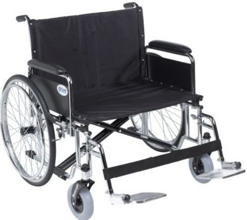 Drive Medical STD28ECDFA-SF Sentra EC Heavy Duty Extra Wide Wheelchair, Detachable Full Arms, Swing away Footrests, 28